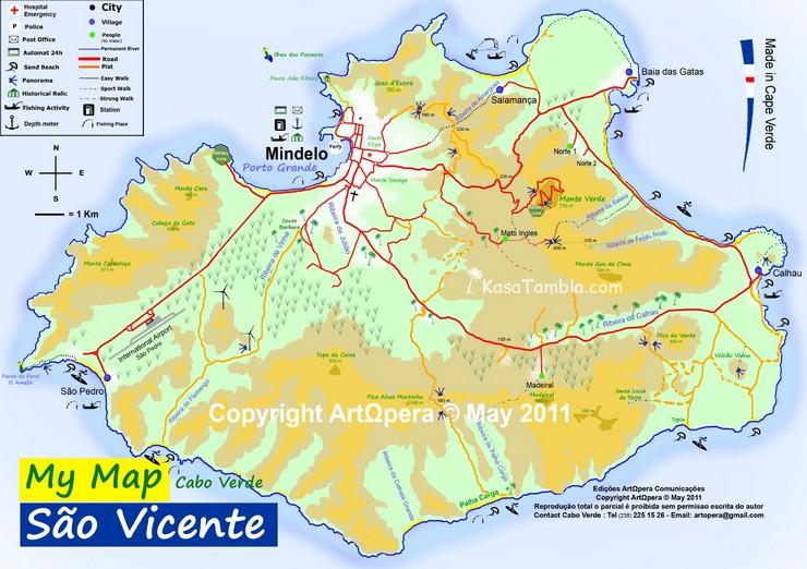Votre carte de l´île de São Vicente